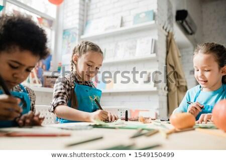 два Cute прилежный девочек африканских мальчика Сток-фото © pressmaster