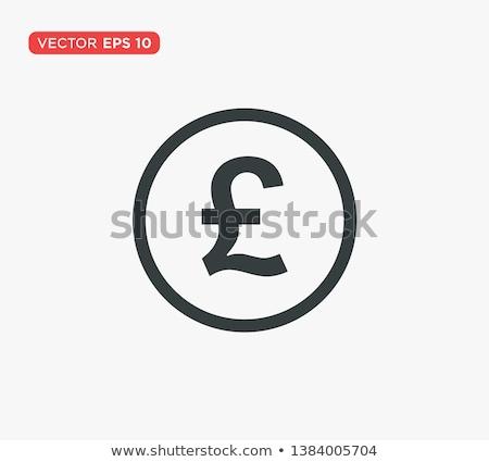 Funt ikona biały zakupy podpisania malarstwo Zdjęcia stock © smoki