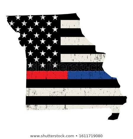 Missouri policji strażak wsparcia banderą amerykańską flagę Zdjęcia stock © enterlinedesign