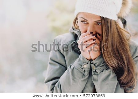 Woman Walking Alone in Warm Clothes, Cold Weather Stock photo © robuart