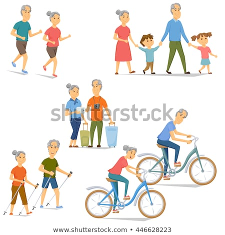 Vector senior old couple on jogging sport Stock photo © anbuch
