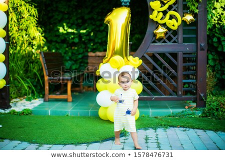 a boy of Asian appearance 1 year runs around in the yard on the lawn and has fun on his birthday Stock photo © ElenaBatkova