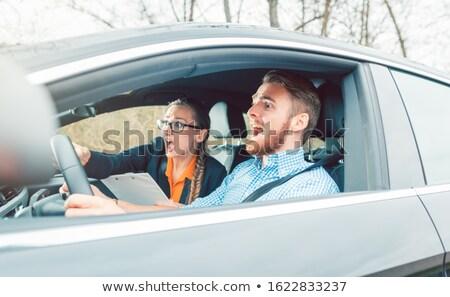 Veszélyes helyzet autó vezetés utasítás teszt Stock fotó © Kzenon