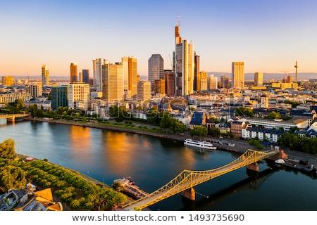 Skyline Frankfurt hoofd- rivier nacht water Stockfoto © manfredxy