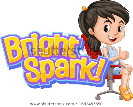 Font design for word bright spark with cute girl Stock photo © bluering
