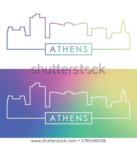 Abstrato Atenas linha do horizonte cor edifícios Foto stock © ShustrikS