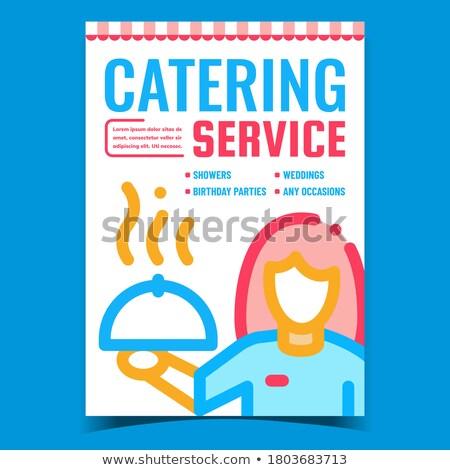 Catering serviço criador anunciar cartaz vetor Foto stock © pikepicture