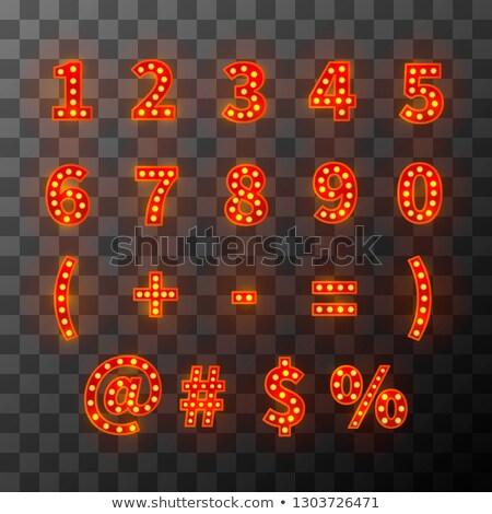 Világítás villanykörte betűtípus fényes ábécé kabaré Stock fotó © evgeny89