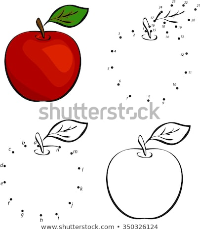 Cartoon red apple. Vector illustration. Coloring and dot to dot educational game Stock photo © natali_brill
