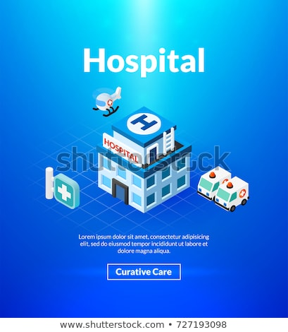 Medicine and hospital - colorful isometric web banner Stock photo © Decorwithme