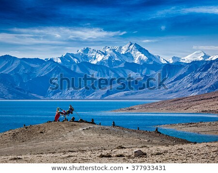 Buddhist prayer flags lungta at Himalayan lake Stock photo © dmitry_rukhlenko