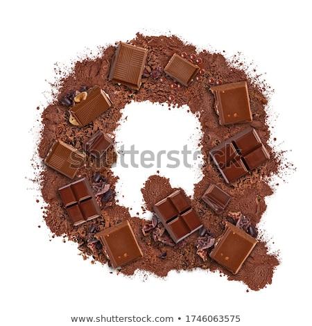 Q betű csokoládé szelet darabok izolált fehér étel Stock fotó © grafvision