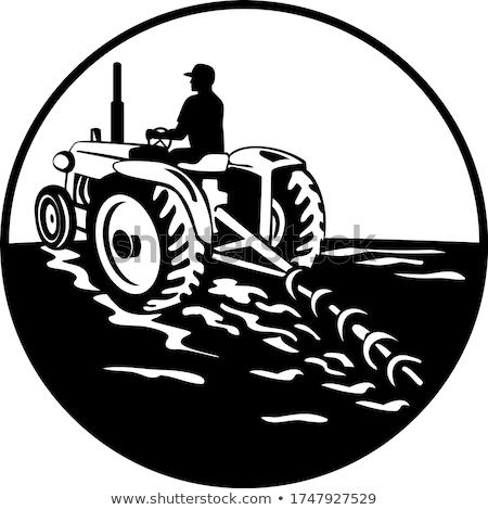 Agriculteur conduite vintage tracteur arrière cercle Photo stock © patrimonio