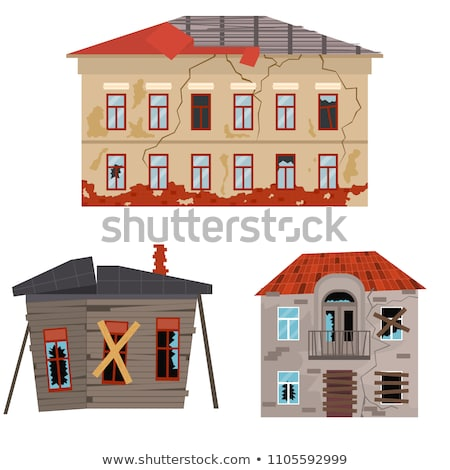 Broken House Building Collection Icons Set Vector Stock photo © pikepicture