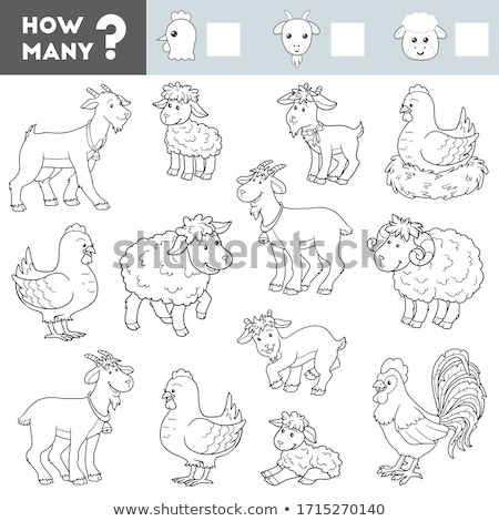 how many goats and chickens educational task for children Stock photo © izakowski