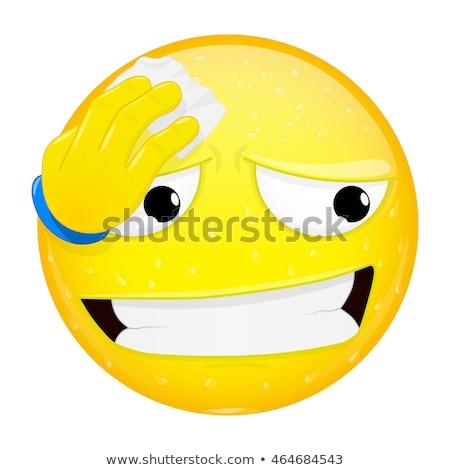 Sudare emoticon mano sentimento uomo Foto d'archivio © yayayoyo