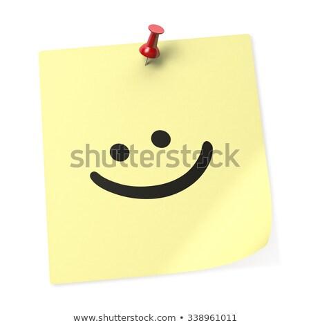sticky · note · glimlach · ontwerp · oranje · notebook · brief - stockfoto © mybaitshop
