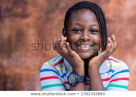 африканских · девушки · без · верха · молодые · джинсов · короткие · волосы - Сток-фото © poco_bw