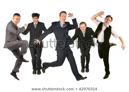 detrás · saltar · equipo · de · negocios · collage · feliz · moda - foto stock © Paha_L