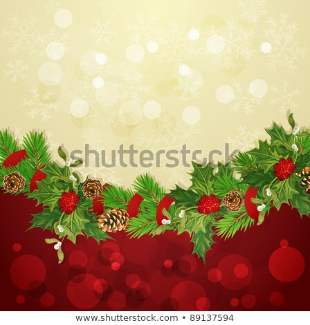holiday background with Christmas garland, hally and ball Stock photo © Alkestida