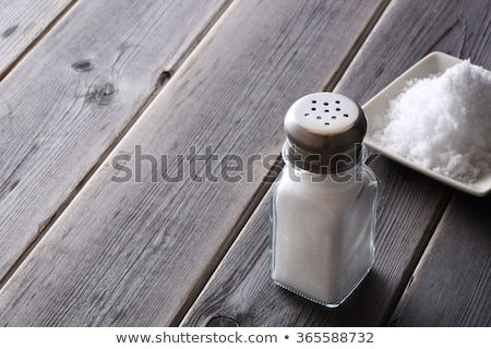 Zout shaker houten tafel glas fles spa Stockfoto © nenovbrothers