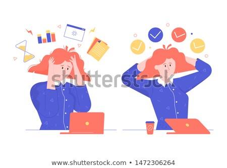 Stok fotoğraf: Görev · güçlü · adam · çalışmak · iş · karikatür