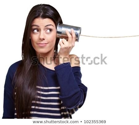Tin può telefono bianco sfondo rete Foto d'archivio © williv