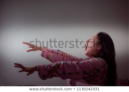 álmos · nő · ágy · ébresztőóra · elöl · lány - stock fotó © ariwasabi