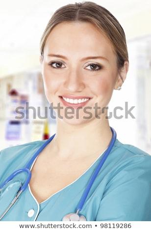 kobiet · lekarza · korytarz · szpitala · działalności · szczęśliwy - zdjęcia stock © Nobilior