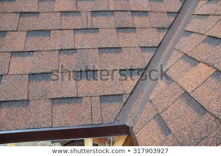 Stock photo: Construction worker holding roof shingles