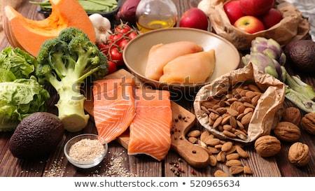 Egészséges étrend egészséges saláta előétel nyers gomba Stock fotó © stevemc