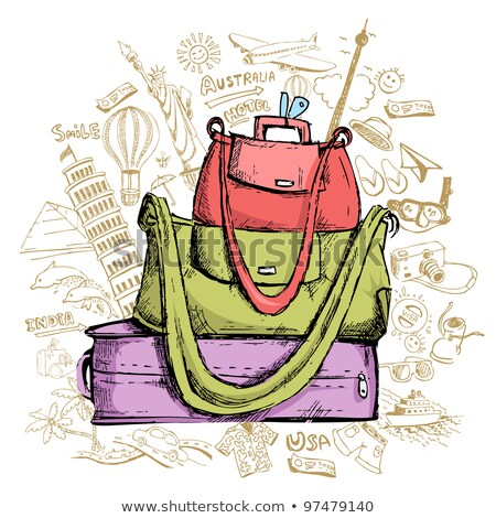 Travel Doddle with Luggage Stock photo © vectomart