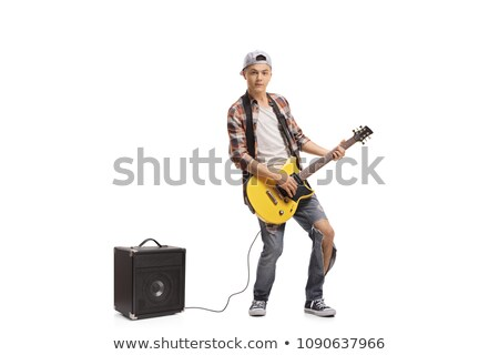 teenager boy with electric guitar and amp stock photo © photography33