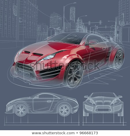 City car blueprint vector illustration © lkeskinen (#1974488 ...