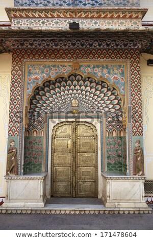 Old brass door in Jaipur India Stock photo © calvste