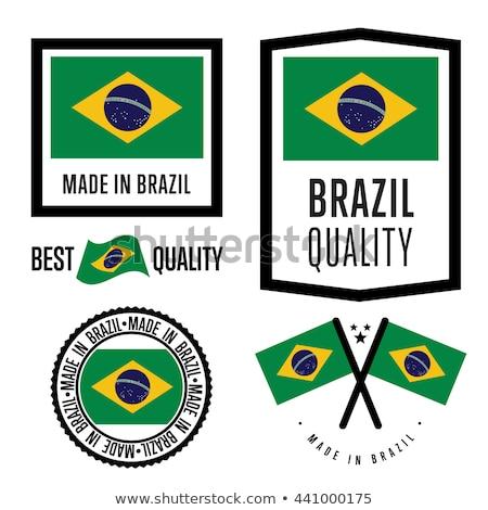 Vektor Label Brasilien Flagge Stempel Verkauf Stock foto © perysty