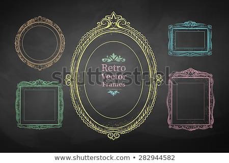 Tafel farbenreich Rahmen rustikal Kreidezeichnung Raupe Stock foto © TLFurrer