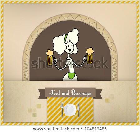 Stockfoto: Serveerster · bier · voedsel · dranken
