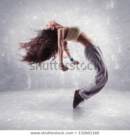 ストックフォト: 女性 · 通り · ダンサー · ポーズ · 現代 · 白