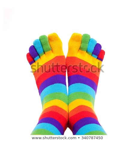 Csíkos lábujj zokni szürke izolált fehér Stock fotó © zhekos