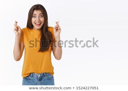 jungen · Brünette · Frau · Porträt · glücklich · Kleid - stock foto © lithian