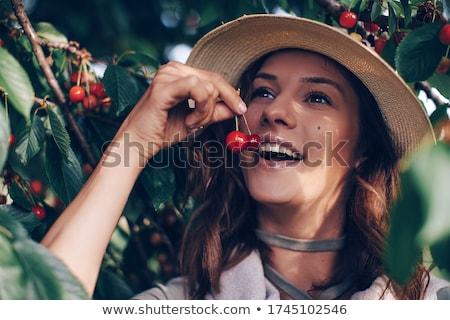 donna · bocca · labbra · lingua · mangiare · ciliegio - foto d'archivio © carlodapino