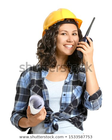 Woman with plans and radio transmitter Stock photo © photography33