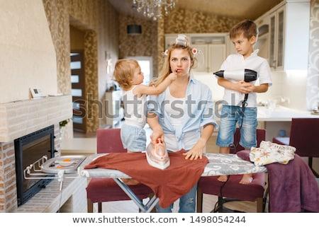 Dona de casa brilhante quadro limpeza piso mulher Foto stock © dolgachov