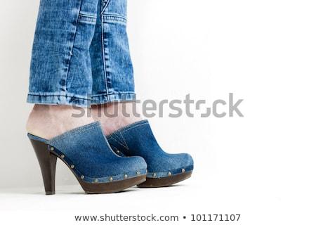 Denim schoenen stijl hielen paar twee Stockfoto © phbcz