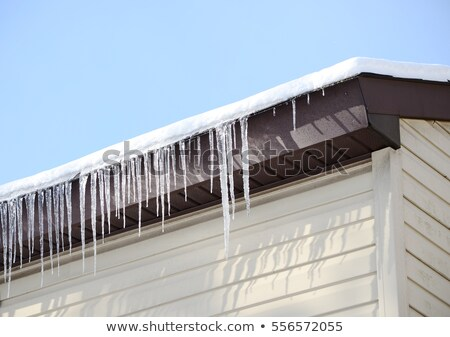 Icicles on the Gutter Closeup Stock photo © saje