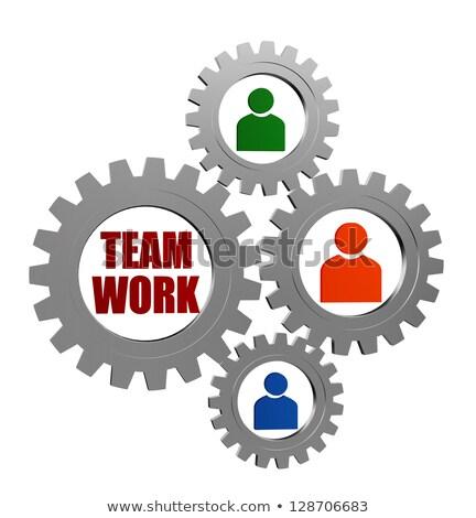 Foto stock: Trabajo · en · equipo · persona · signos · plata · gris · palabra