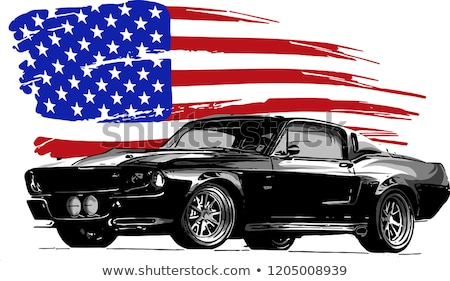 Stock photo: Old American Muscle car vector backgroun