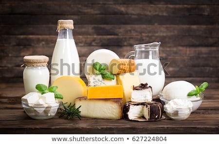 Tejtermékek természet üveg tojás asztal kék Stock fotó © M-studio