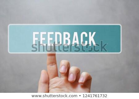 ストックフォト: 手 · フィードバック · ボタン · 白 · チョーク